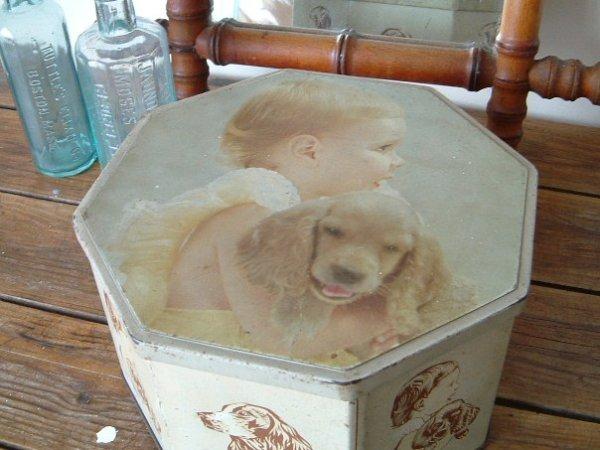 画像1: アンティークTINBOX bébé+chien