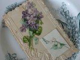アンティークポストカード「Poisson d'Avril」 スミレとすずらん