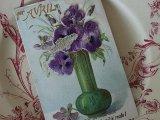 アンティークポストカード「Poisson d'Avril」 花瓶のヴィオラ