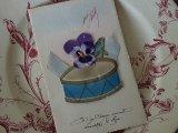 アンティークポストカード「Poisson d'Avril」 太鼓とヴィオラ