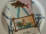 アンティークポストカード「Poisson d'Avril」 揺りかごの赤ちゃん
