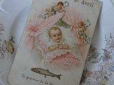 アンティークポストカード「Poisson d'Avril」 赤ちゃんと天使