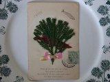 アンティークポストカード「Poisson d'Avril」 魚のシルエット