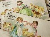 アンティークポストカード2枚セット Pâques「女の子とひよこ」