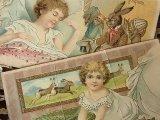 アンティークポストカード2枚セット Pâques「うさぎと女の子」