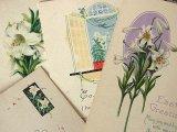 アンティークポストカード4枚セット Pâques「百合セット」