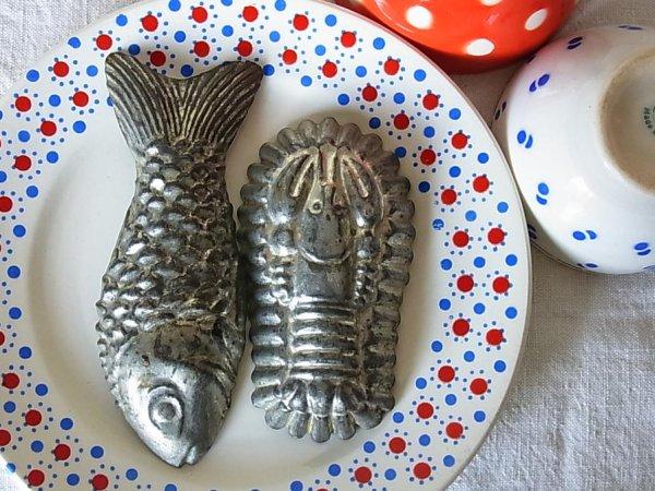 画像1: アンティークtinモールド 魚・ロブスター