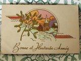 アンティークポストカード Bonne et Heureuse Annee ヤドリギx教会