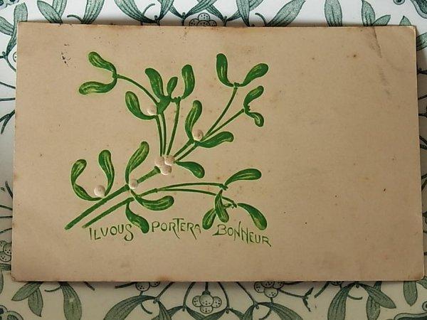 画像1: アンティークポストカード ヤドリギIl vous portera bonheur