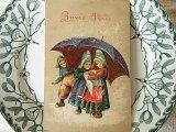 アンティークポストカード 大きな傘