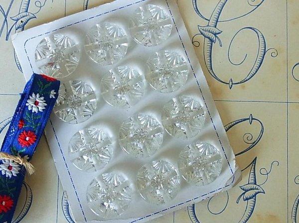 画像1: アンティークガラスボタンシート 丸xクロスカット