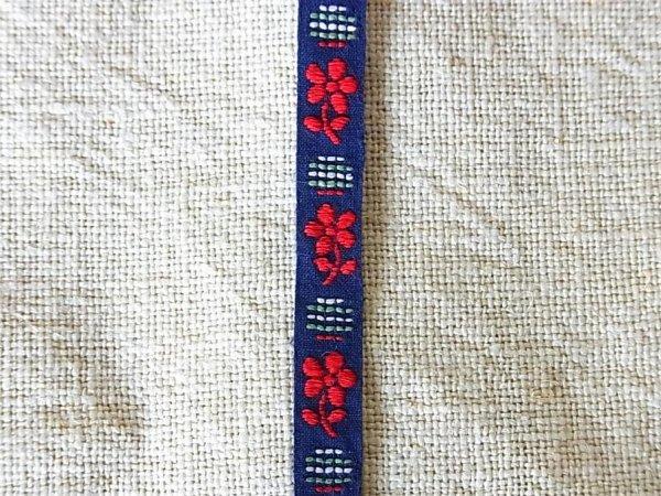 画像2: ヴィンテージチロリアンテープ ネイビーx赤い花