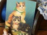 アンティークポストカード 二匹の猫