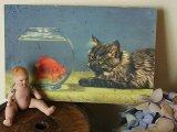 アンティークポストカード 金魚と猫