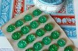 アンティークガラスボタンシート 花形 グリーン