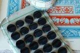アンティークミルクガラスボタンシート 丸xカッティング 黒
