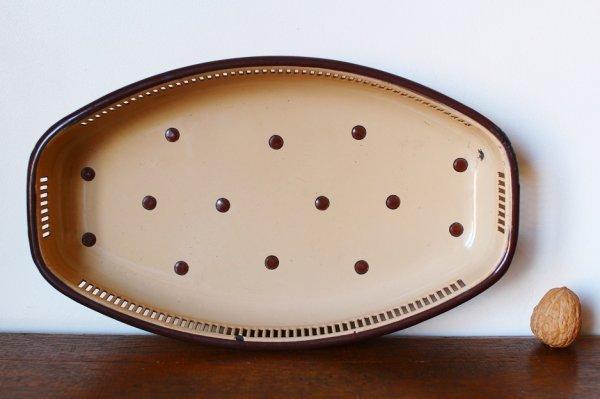 画像3: アンティーク水玉ホーロートレイ キャメルxブラウン 長方形