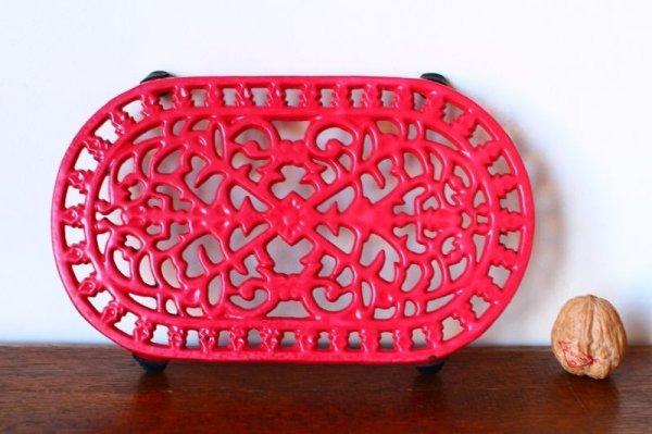 画像3: アンティーク アイアントリベット(鍋敷き) 赤 Sサイズ