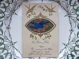 チュール刺繍のアンティークカード - つばめ