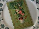 アンティークポストカード「Poisson d'Avril」 植木鉢の薔薇