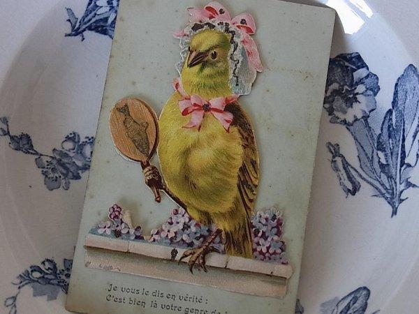 画像1: アンティークポストカード「Poisson d'Avril」 おしゃれな小鳥