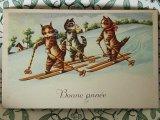 アンティークポストカード Bonne annee スキー