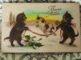 アンティークポストカード Bonne Annee 猫x犬