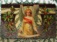 画像1: アンティークポストカード 天使とヒイラギ (1)
