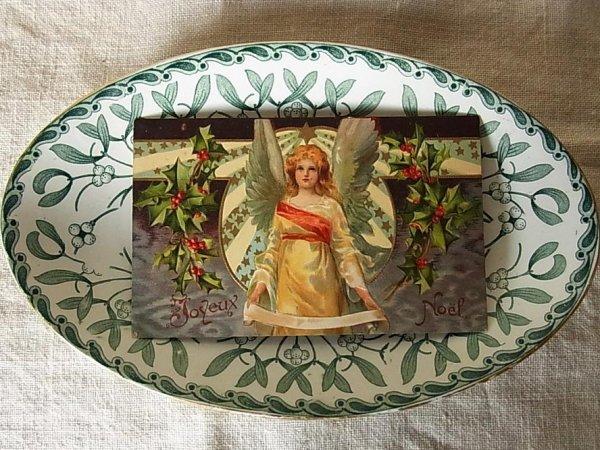 画像2: アンティークポストカード 天使とヒイラギ