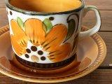 ベルギーBOCH カップ&ソーサー オレンジフラワー