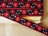 ヴィンテージチロリアンテープ 黒x赤い花