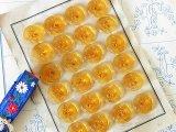 アンティークガラスボタンシート 琥珀色xお花エンボス