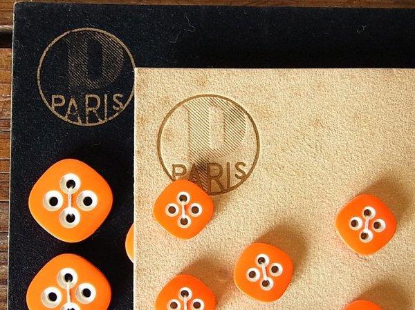 画像4: アンティークボタンシート PARIS オレンジスクエア(大)