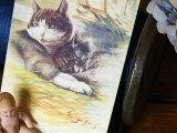 アンティークポストカード 黒い猫の親子