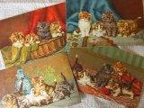 アンティークポストカードセット 四匹の子猫