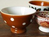 ベルギーBOCH カフェオレボウル ポルカドット - 茶