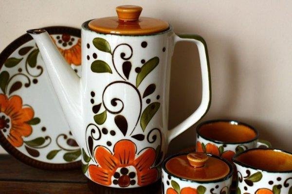 画像1: ベルギーBOCH コーヒーポットMサイズ オレンジフラワー