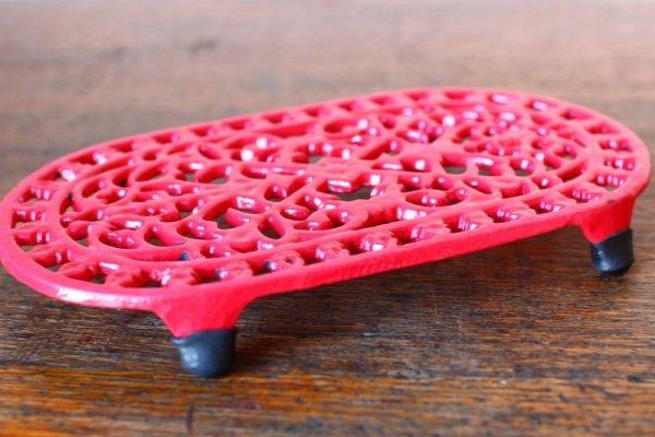 画像1: アンティーク アイアントリベット(鍋敷き) 赤 Sサイズ