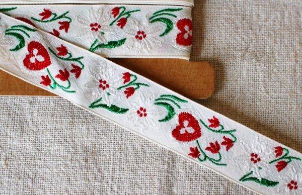 画像1: ヴィンテージチロリアンテープ 赤いハートx白い花