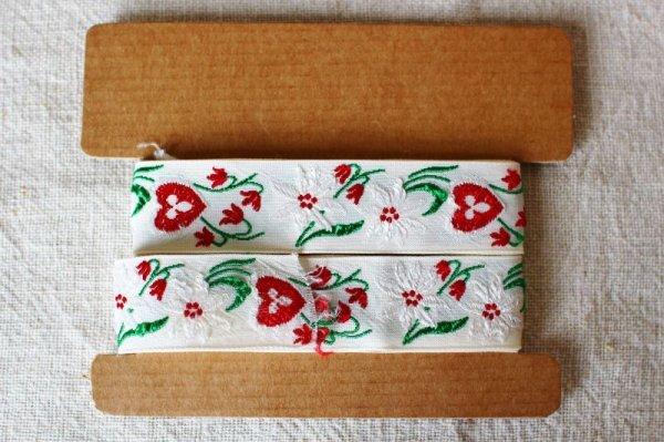 画像2: ヴィンテージチロリアンテープ 赤いハートx白い花