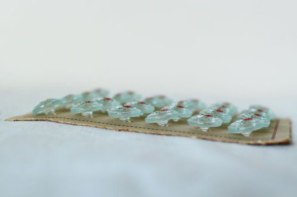 画像3: アンティークガラスボタンシート クリアx花