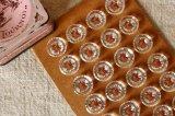 アンティーククリアガラスボタン 丸x六角カット